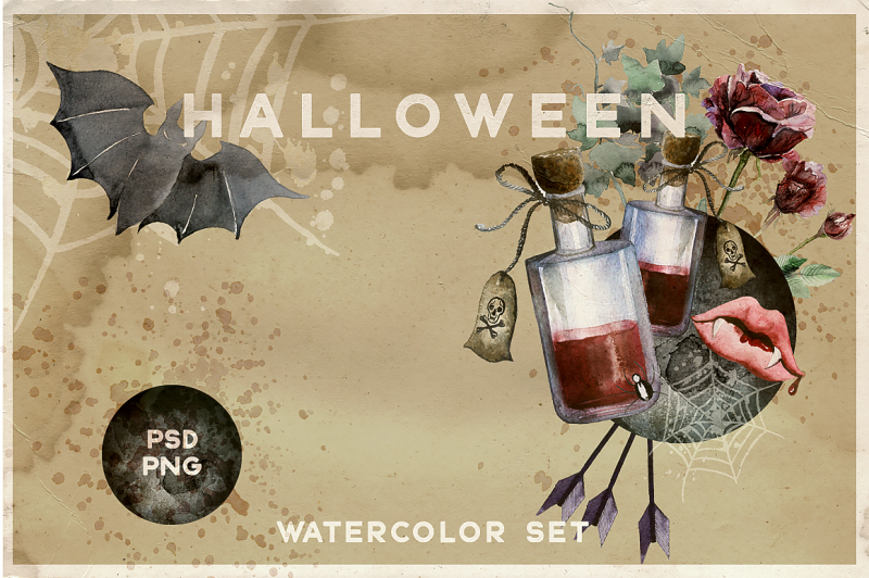 watercolor-halloween-vintage