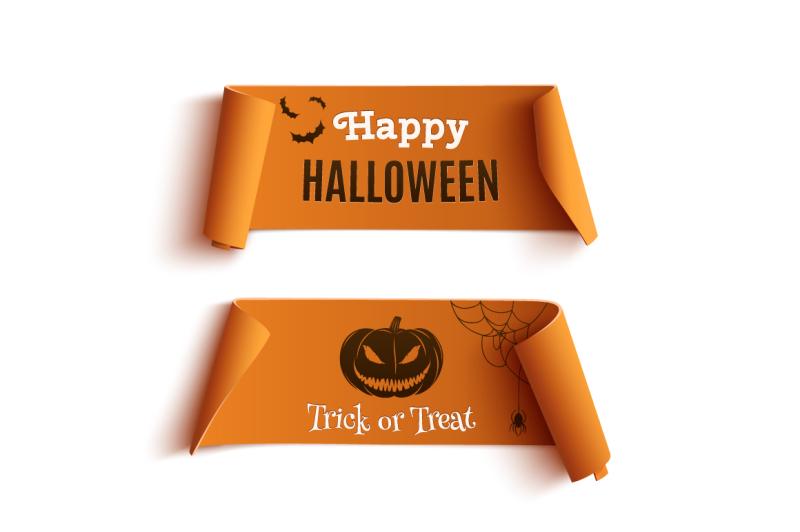 two-orange-halloween-banners