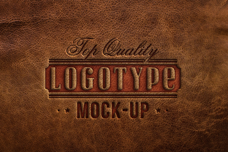 Free 5 mock ups - logotype embossed on different leather textures (PSD Mockups)