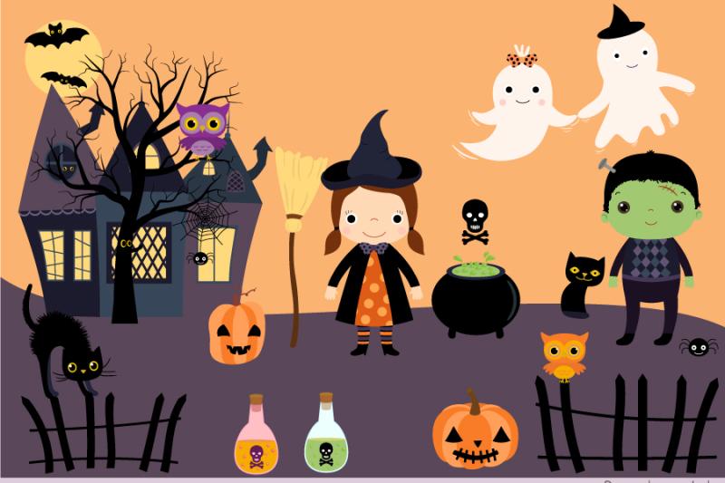 halloween-clip-art-set-black-cat-haunted-house-spooky-tree-ghosts-bats
