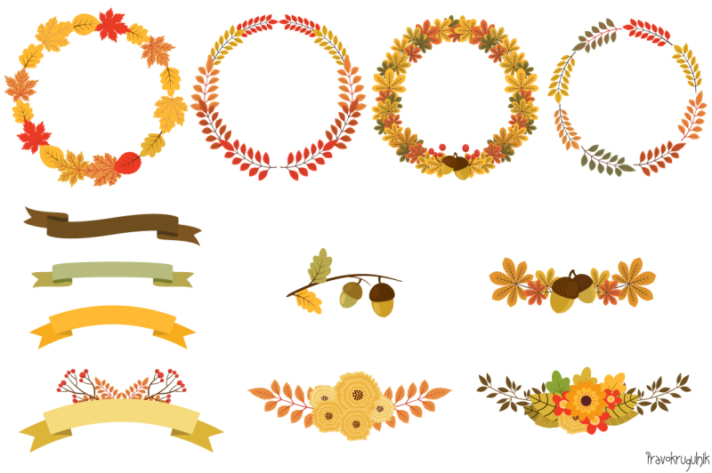 autumn-wreaths-clipart-fall-floral-border-round-frame-wreath-bouquet