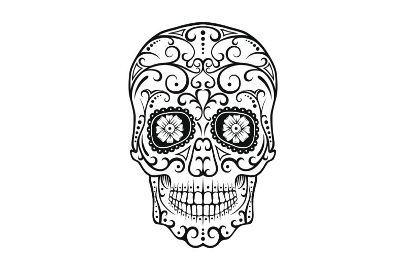 black-and-white-tattoo-skull