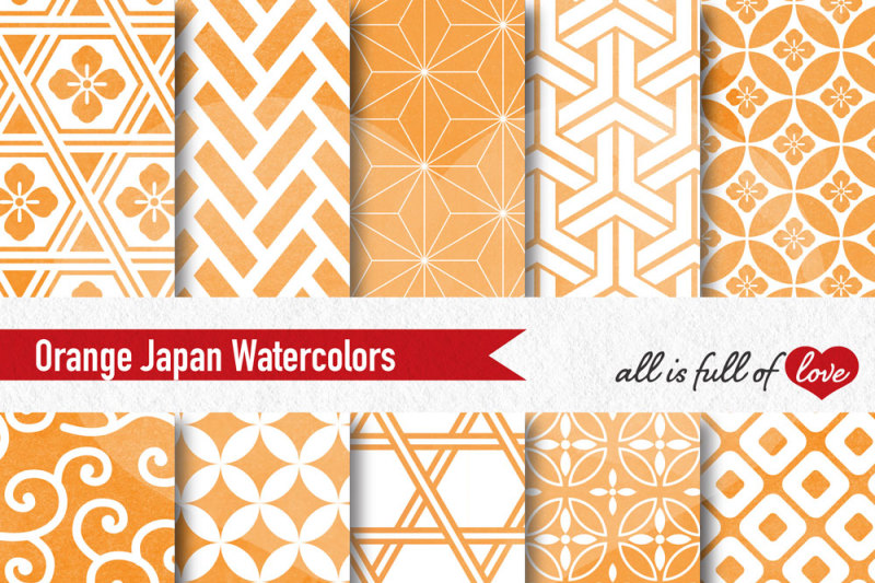orange-watercolor-japanese-seamless-patterns