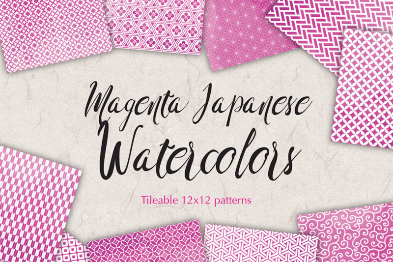pink-magenta-watercolor-digital-paper-japan-patterns-seamless-backgrounds