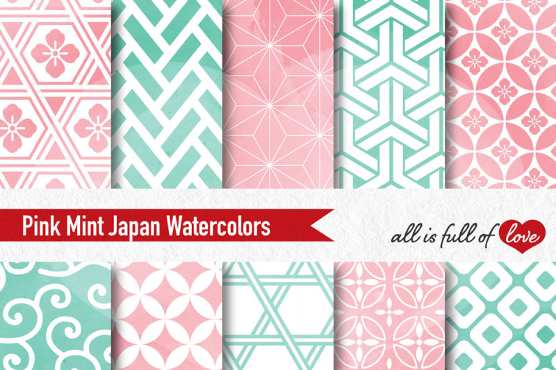pink-mint-watercolor-digital-paper-japan-patterns-seamless-backgrounds