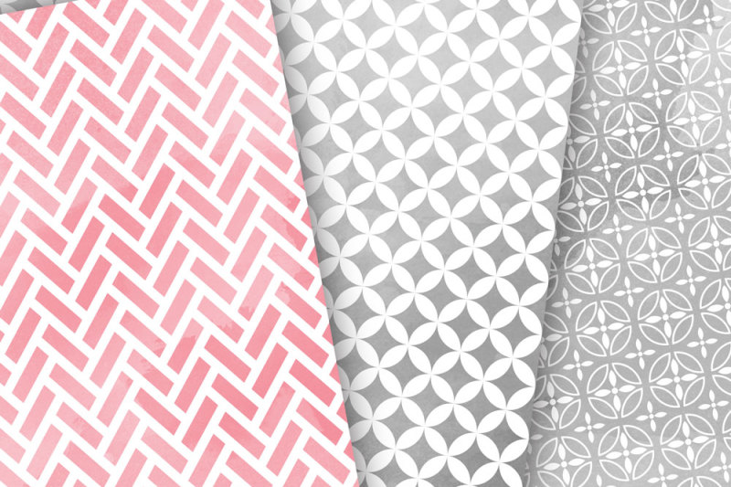 pink-grey-watercolour-digital-paper-japan-patterns-seamless-backgrounds