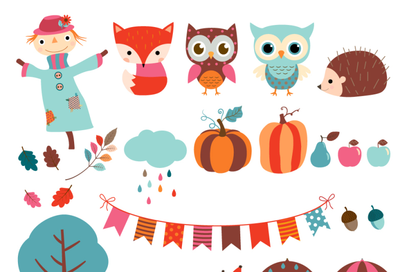 fall-clipart-set-autumn-clip-art-scarecrow-clipart-hedgehog-fox-owl
