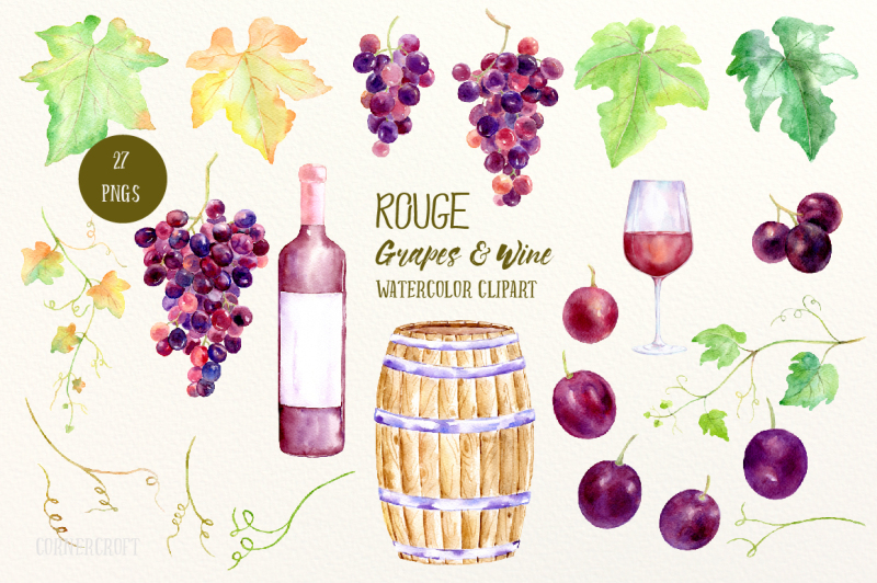 watercolor-rouge-grapes-and-wine