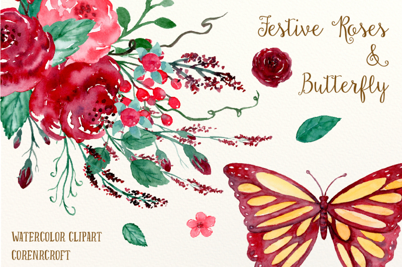 watercolor-festive-roses-and-butterfly
