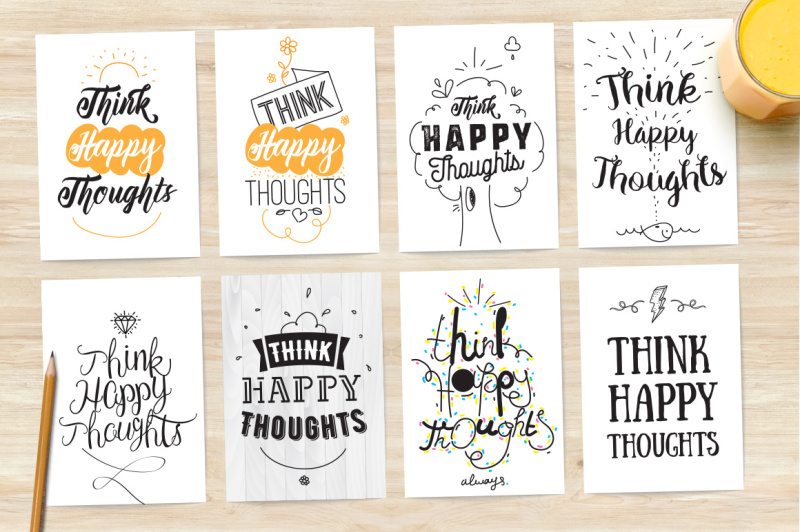 8-cards-with-inspirational-quote-think-happy-thoughts