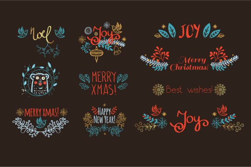 christmas-floral-decoration-and-seamless-pattern-hand-drawn