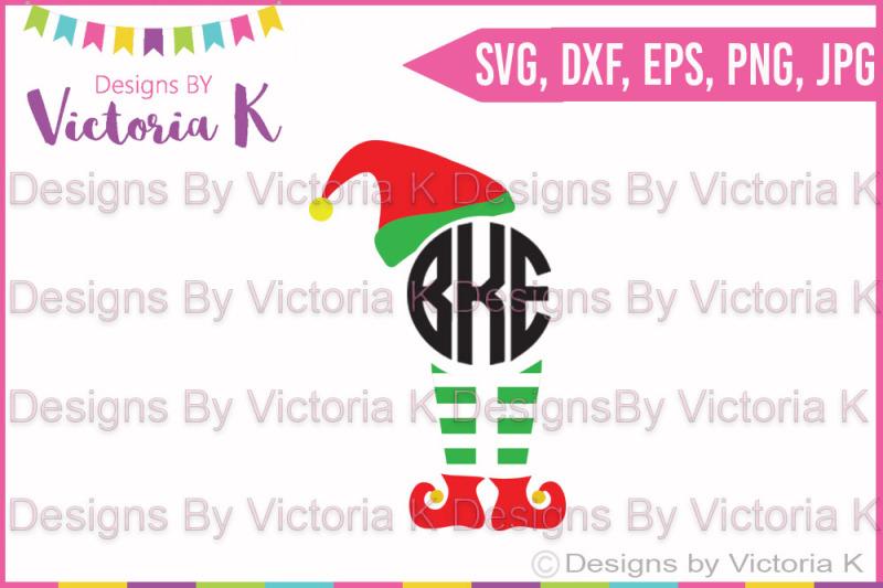 elf-hat-and-legs-monogram-christmas-svg-dxf-cricut-silhouette-cut-file
