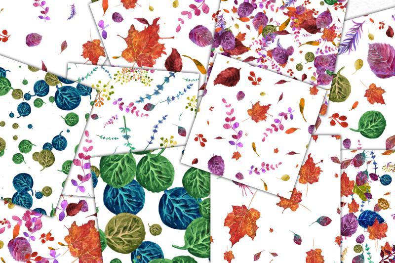 watercolor-autumn-seamless-patterns