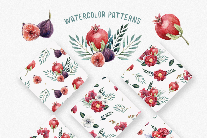 watercolor-floral-and-fruity-delight