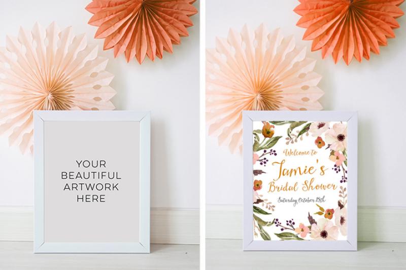 Free Autumn mockup frame, Fall Wedding White Frame Mock-up, 10 x 8 Mockup, Fall mockup, Fall Styled Stock Photography, Fall party mockup, (PSD Mockups)
