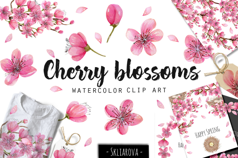 cherry-blossoms-watercolor-clip-art-collection