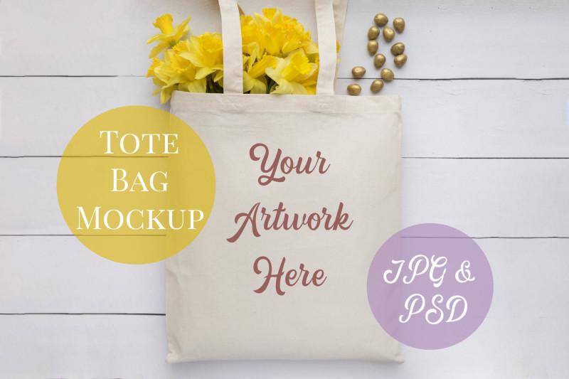 Free Tote Bag Mockup - Yellow Daffodils (PSD Mockups)