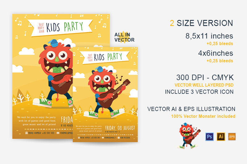 party-kid-illustrated-flyer-template