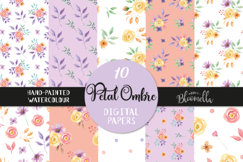 petal-ombre-digital-patterns-purple-coral-seamless-patterns-spring
