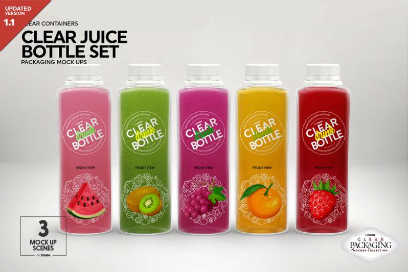 Free Juice Bottle Set Packaging MockUp (PSD Mockups)