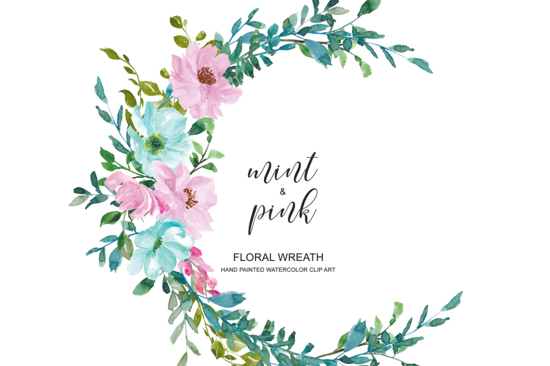 watercolor-pastel-mint-and-pink-flowers-wreath