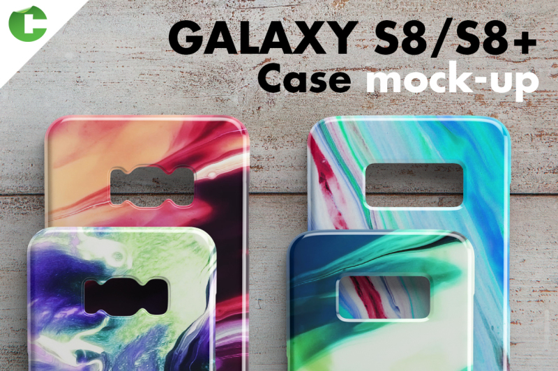 Free Galaxy S8/S8 + case mock-up (PSD Mockups)
