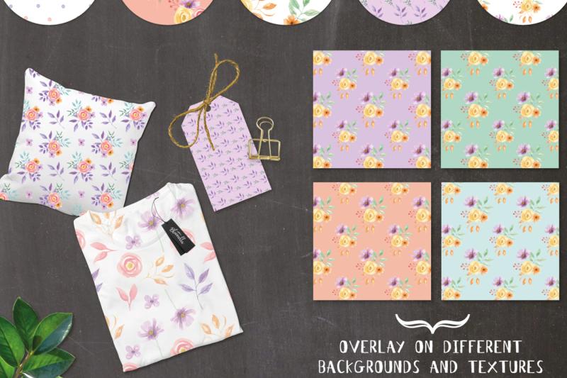 watercolor-flowers-huge-package-patterns-frame-floral-pastel-spring
