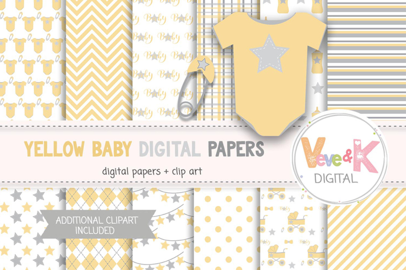 neutral-baby-items-clipart-yellow-baby-graphics
