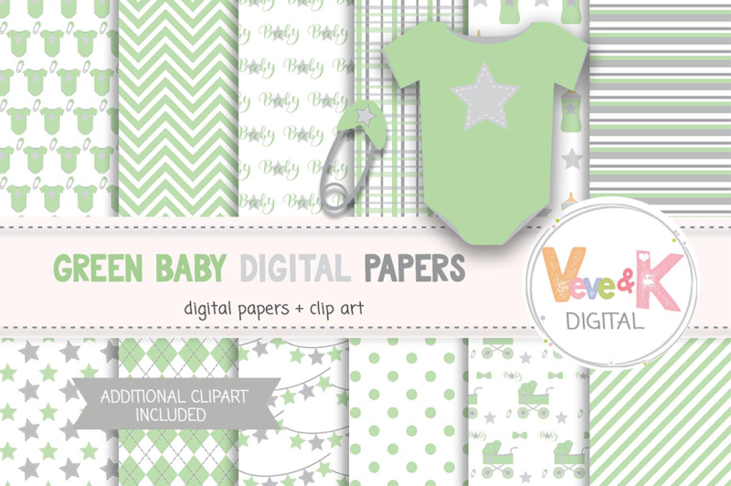 green-baby-items-clipart-and-digital-papers-set