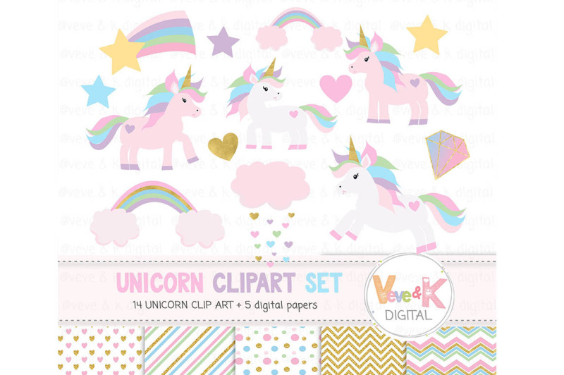 unicorns-clipart-and-digital-papers-set-pastel-unicorns-clipart