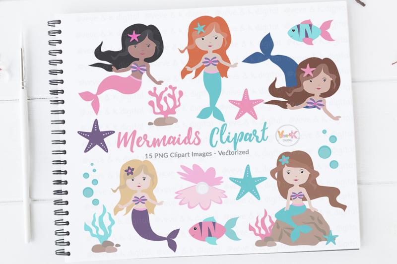 mermaids-clipart-set-mermaid-illustrations