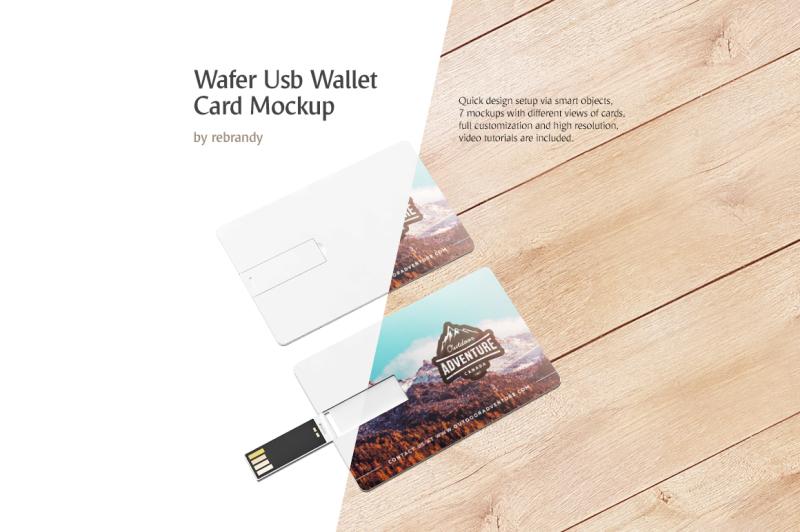 Free Wafer USB Wallet Card Mockup (PSD Mockups)