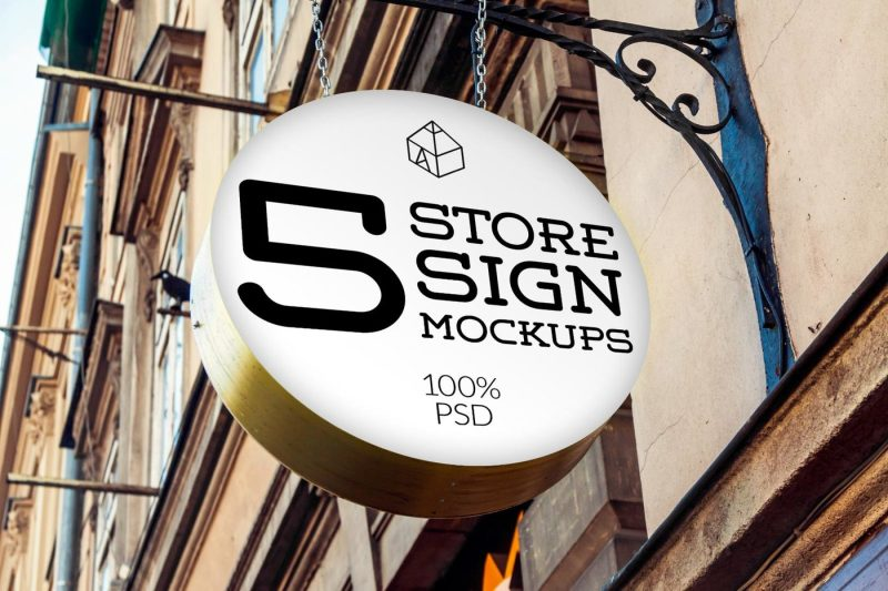 Free Store Signs Mock-ups 3 (PSD Mockups)
