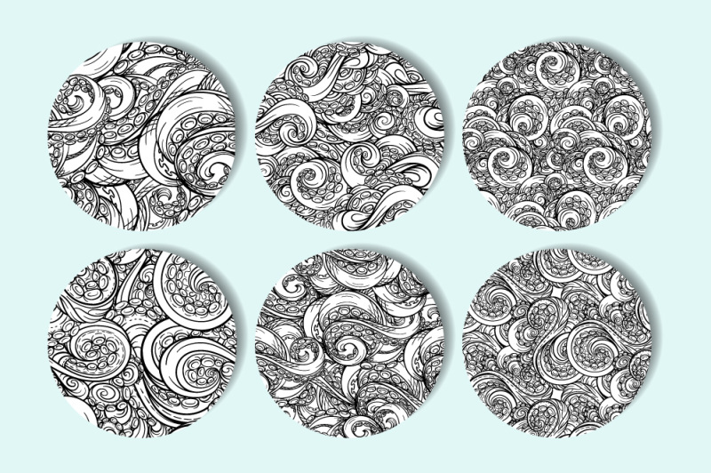 black-and-white-tentacles-seamless-patterns-set