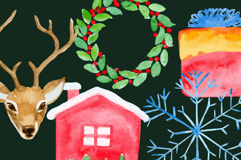 watercolor-christmas-flat-icons