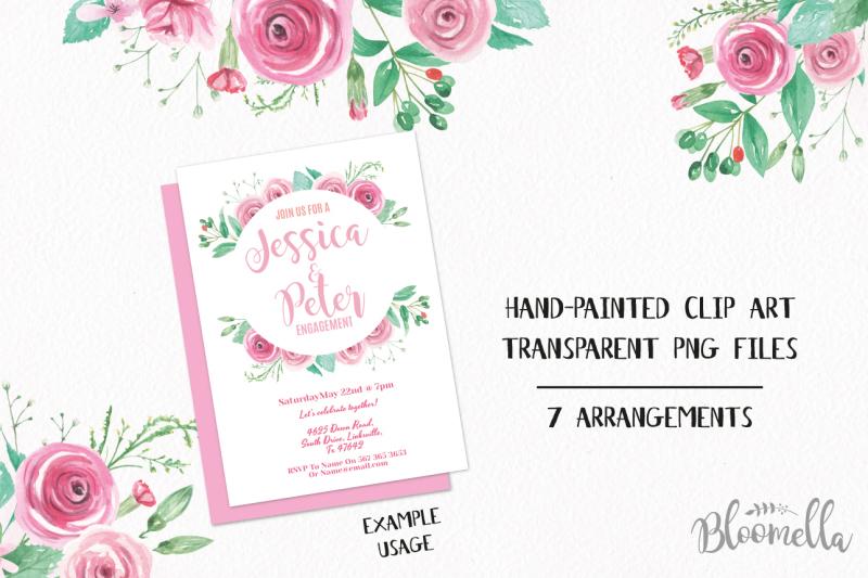 rose-pink-watercolour-clipart-7-frames-borders-flowers-berries