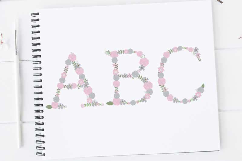 pink-and-grey-floral-alphabet-flower-letters