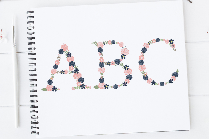 floral-alphabet-clipart-floral-letters-navy-and-blush-floral-letters