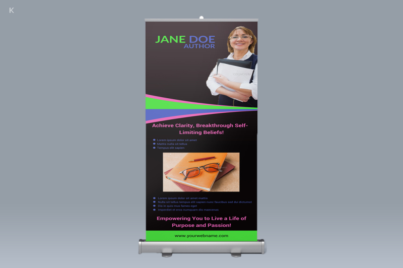 book-writer-pull-up-banner-template