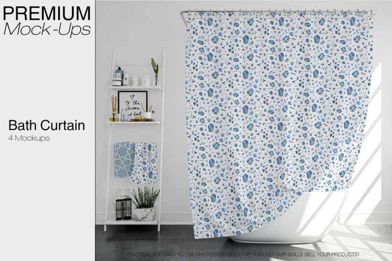 Download Bath Curtain Mockup Pack PSD Mockup