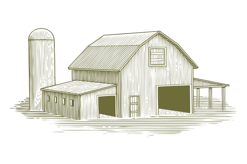 woodcut-traditional-barn