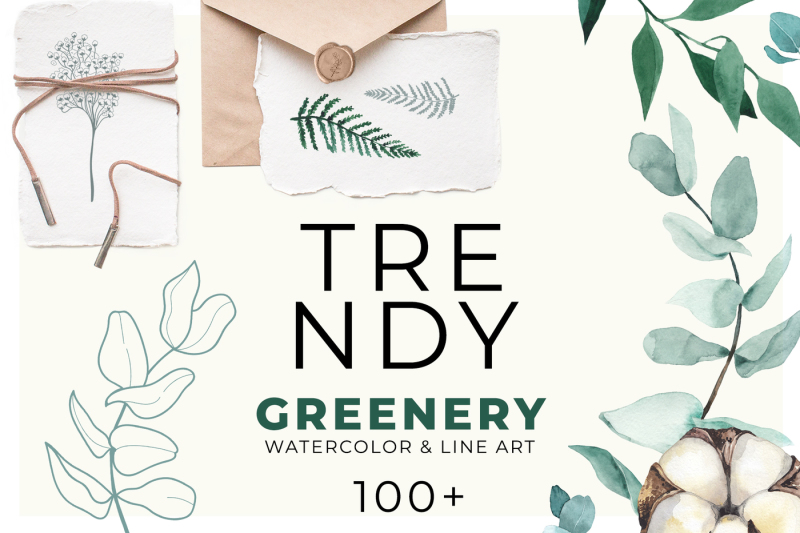 trendy-greenery-watercolor-and-line-art