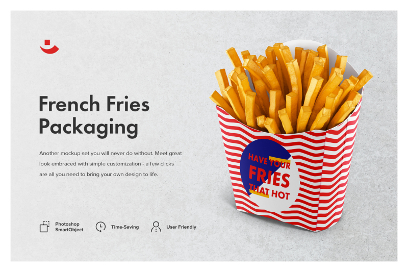 Free French Fries Packaging Mockup Set (PSD Mockups)