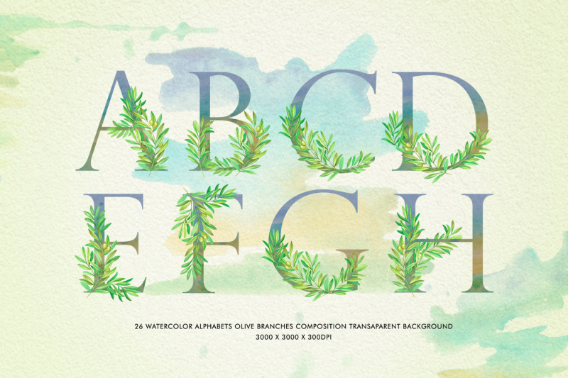 olive-branch-watercolor-alphabets