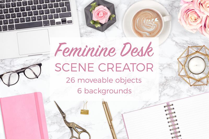 feminine-desk-scene-creator