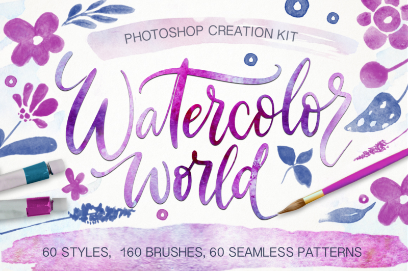 watercolor-world-photoshop-kit