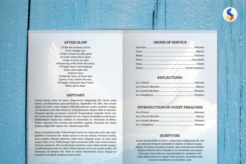 Angel Wing Funeral Program Template Ms Word Only By Smmrdesign