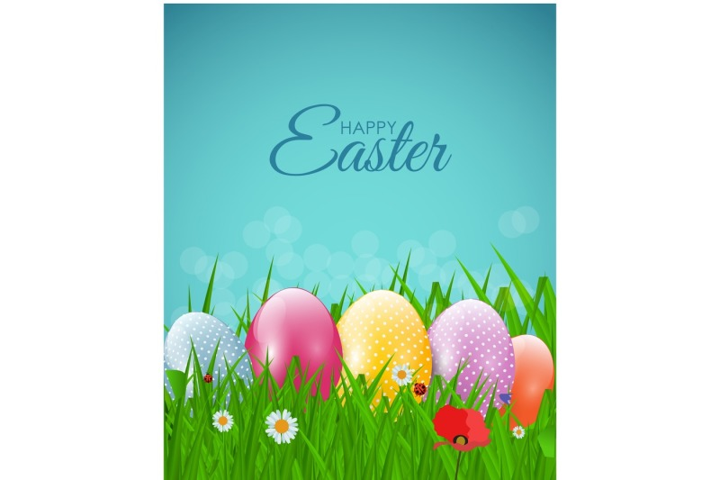happy-easter-natural-background-with-eggs-grass-flower-vector