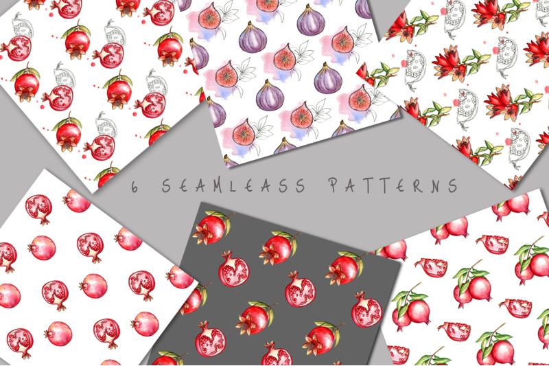 juicy-pomegranate-watercolor-set