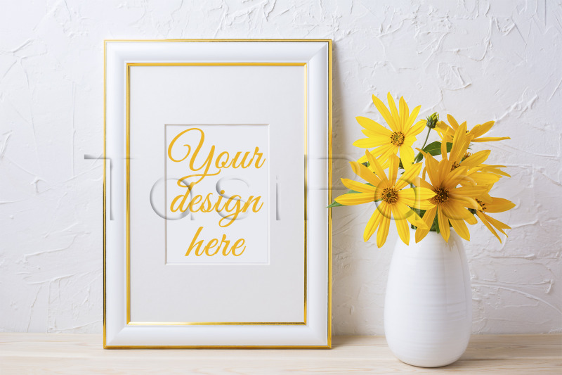 Free Gold decorated frame mockup with yellow rosinweed flowers. (PSD Mockups)